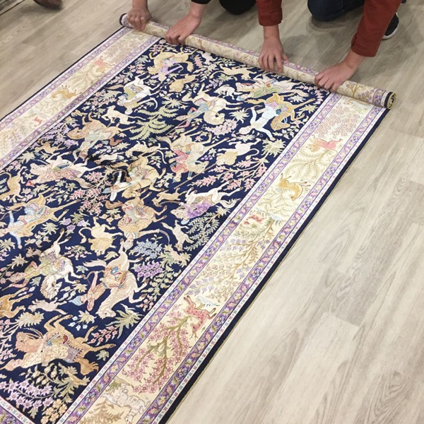 Hunting design carpet, silk rugs,handmade carpet